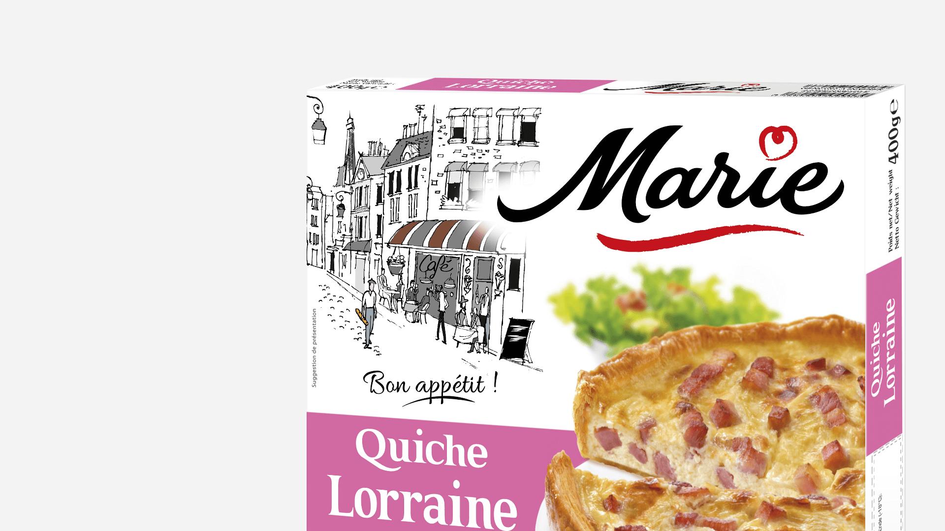zoom sur le pack de la quiche lorraine Marie surgelé