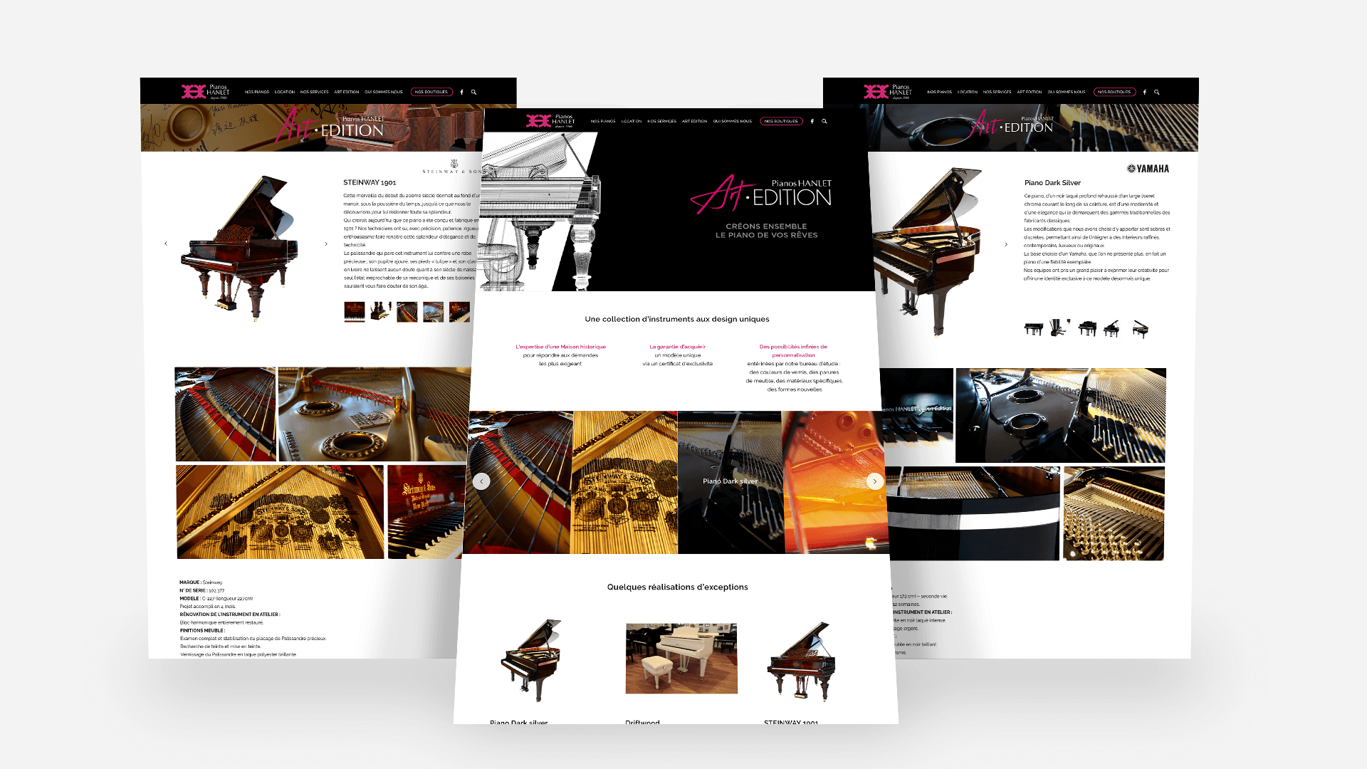 screenshot des pages du site Piano Hanlet