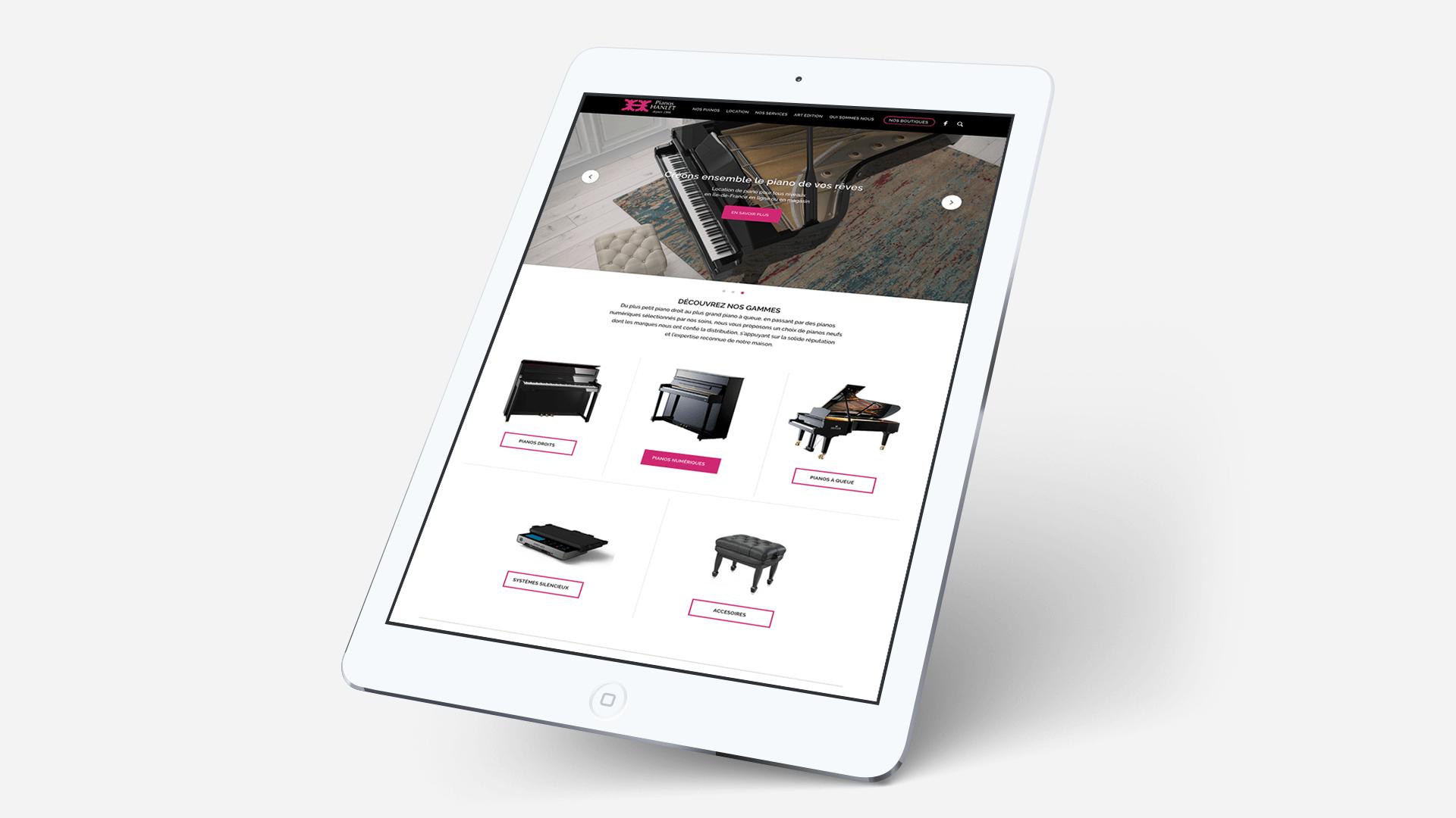 page d'accueil Piano Hanlet sur tablette