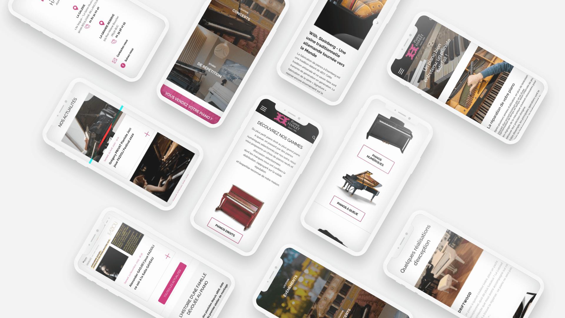plusieurs pages du site Piano Hanlet sur mobile