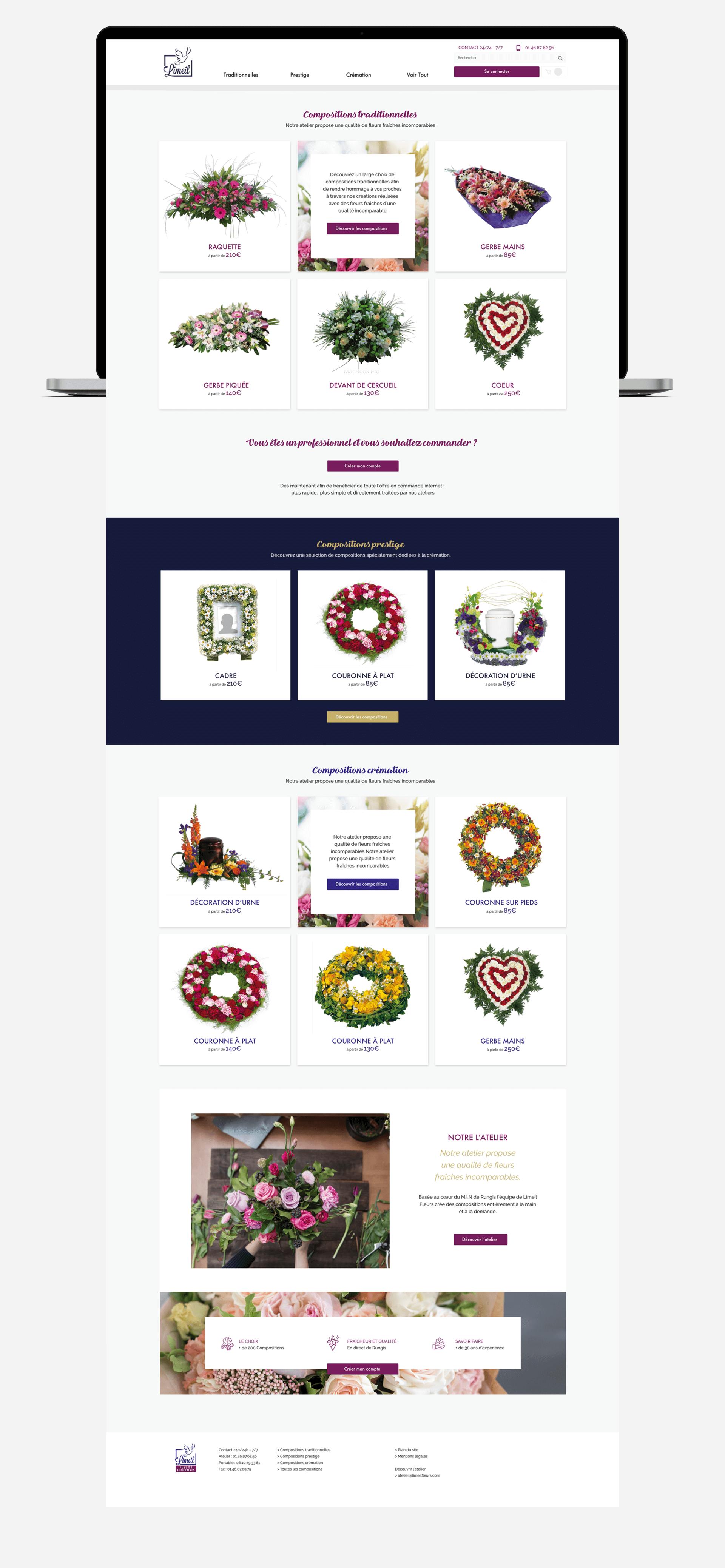 Screenshot de la page d'accueil du site Limeil Fleurs