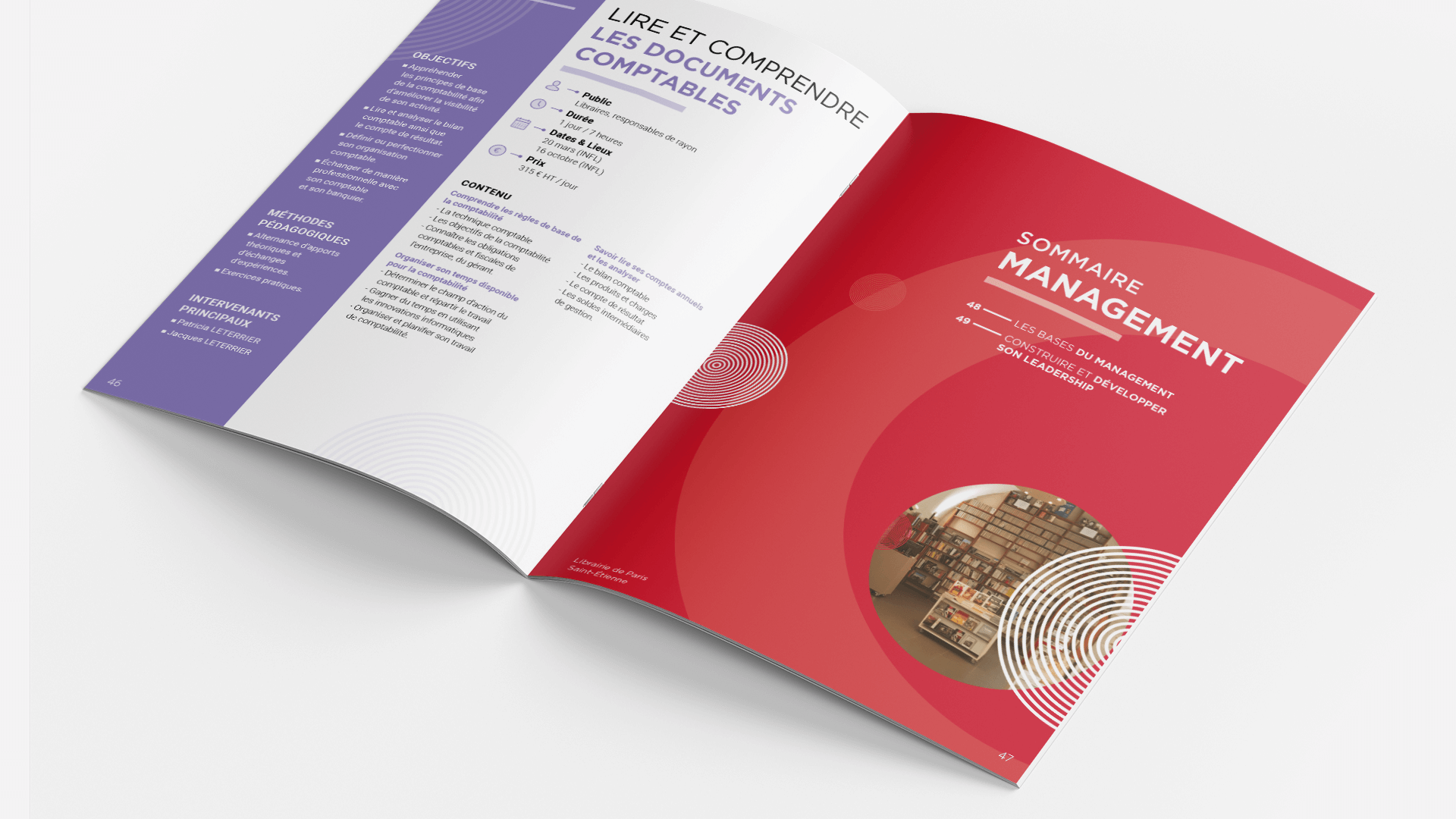 pages intérieures du catalogue de formation de l'INFL