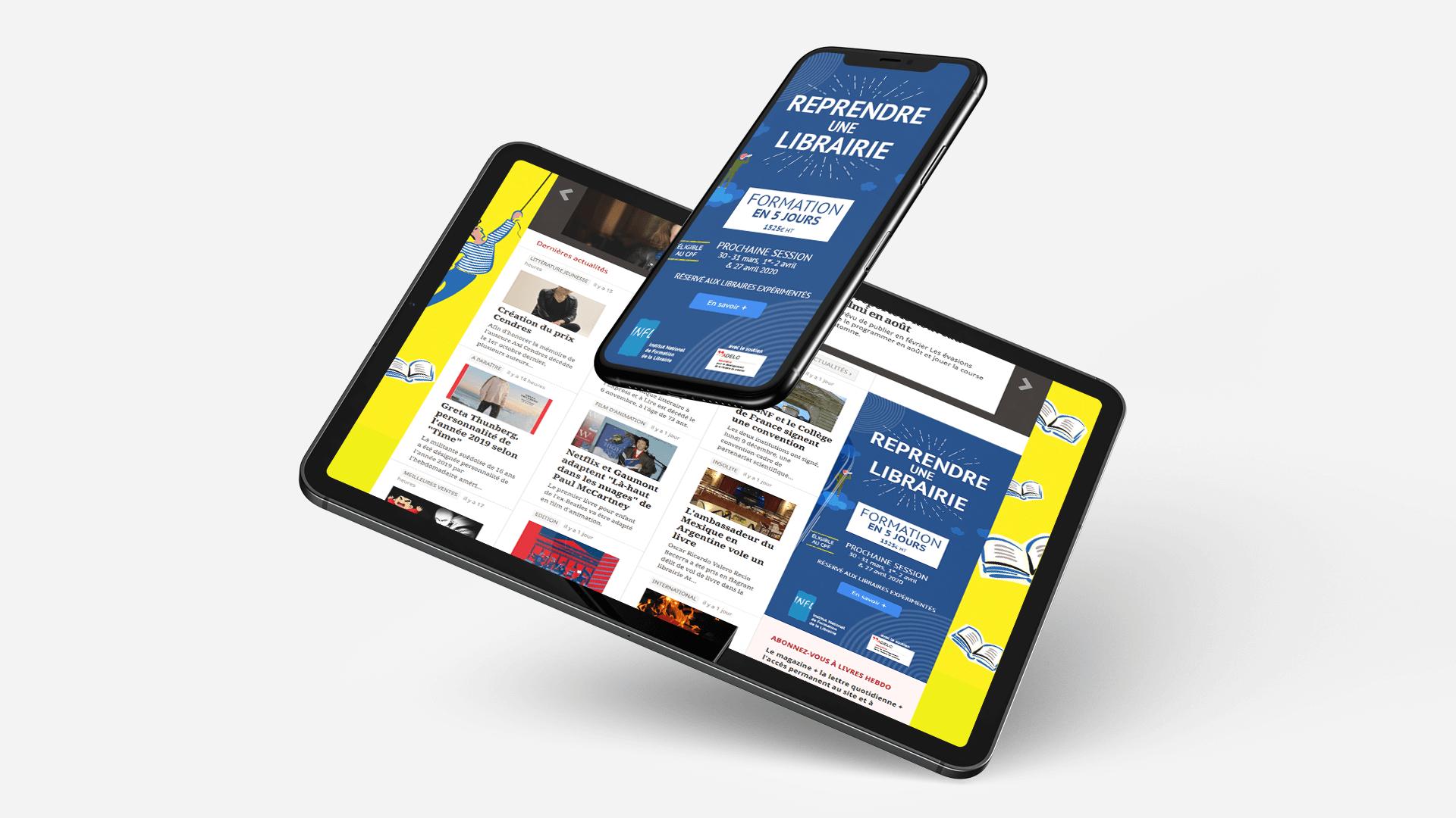 page d'accueil de la refonte du site INFL sur tablette et mobile