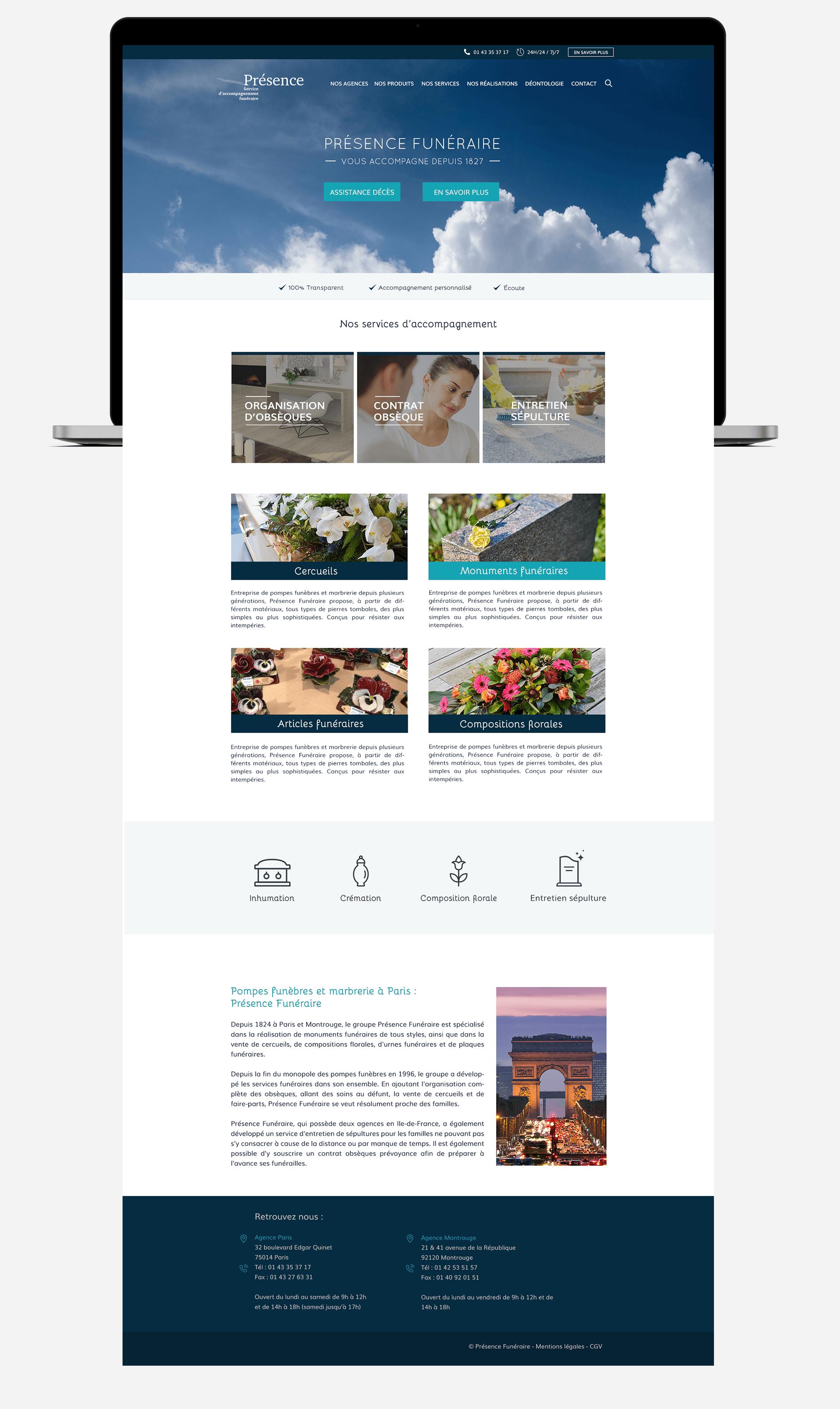 page complète du site Présence Funéraire sur ordinateur