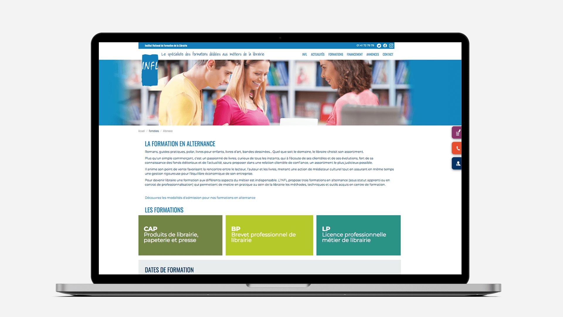 page d'accueil de la refonte du site INFL sur ordinateur