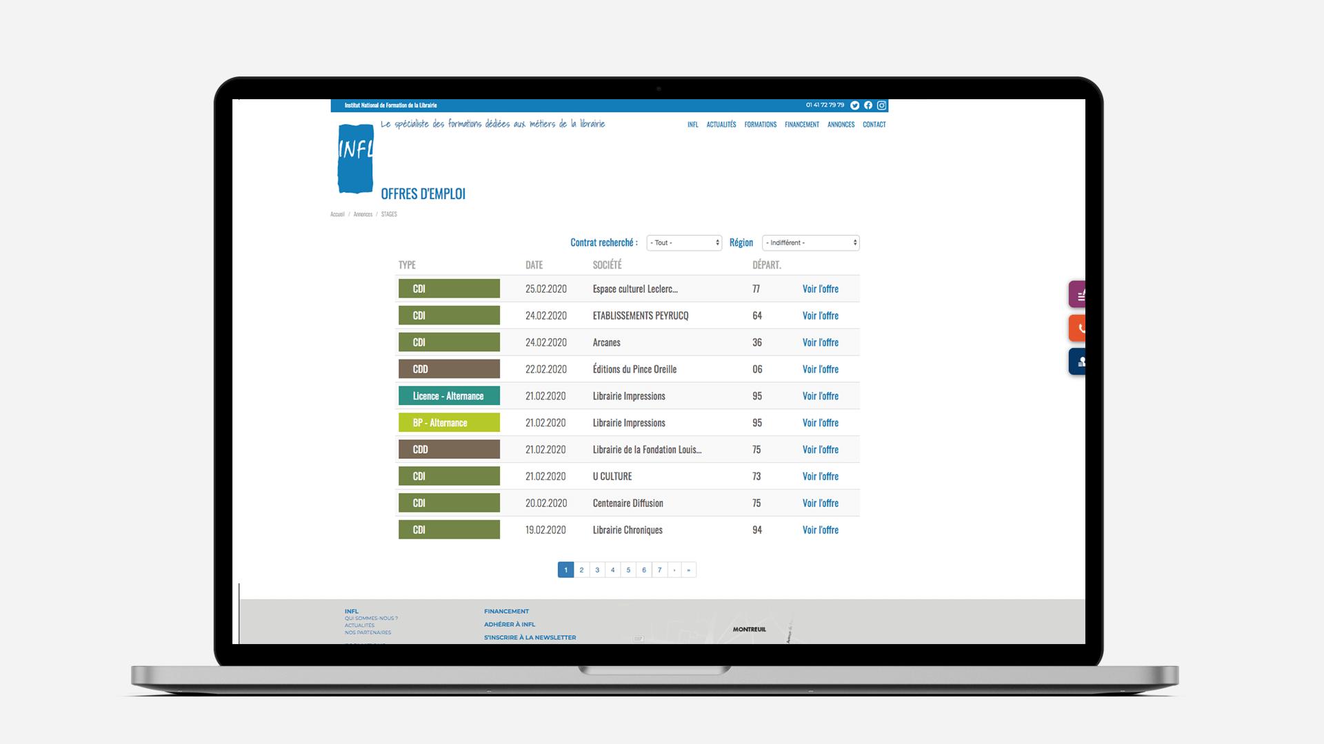 page des offres d'emploi de la refonte du site INFL