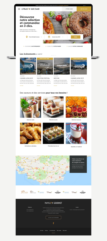 Page d'accueil entière du site Pavillon Gourmet sur ordinateur