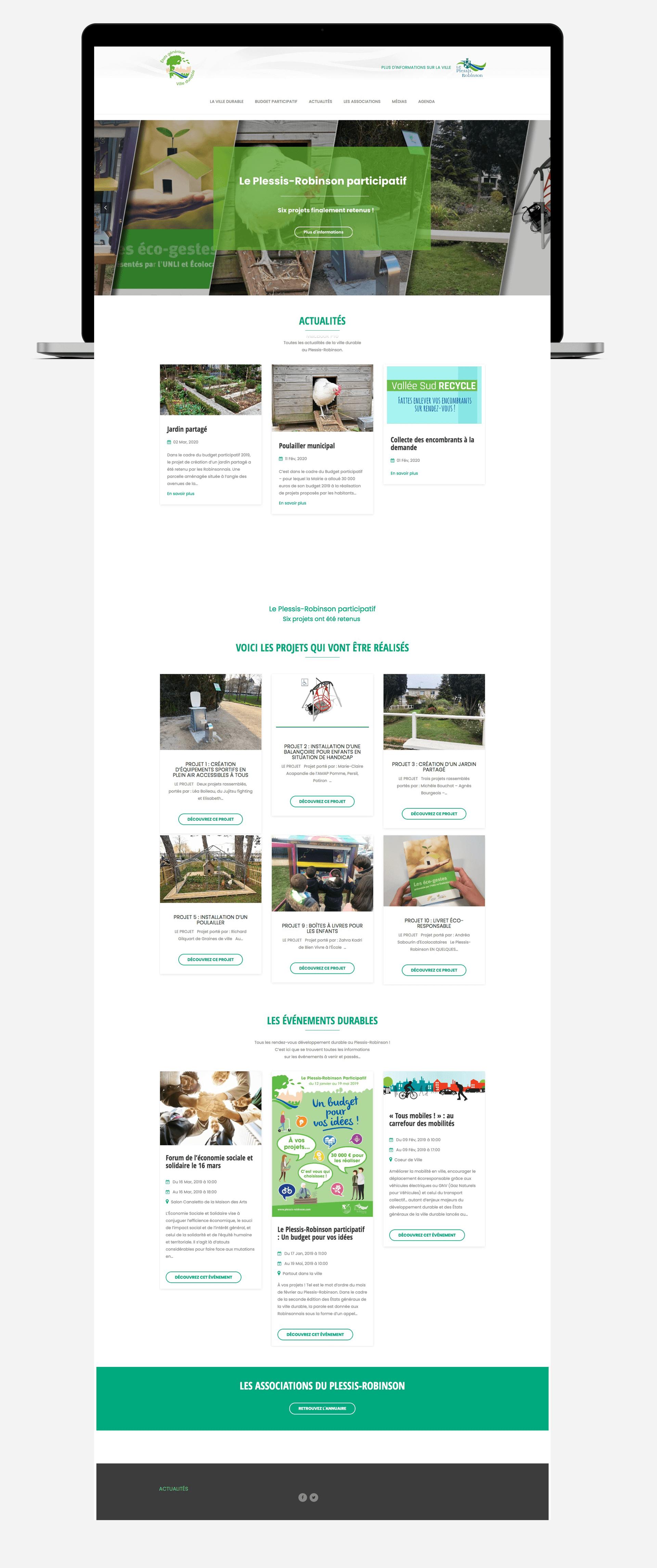 Page d'accueil complète du site web Plessis-Robinson sur ordinateur