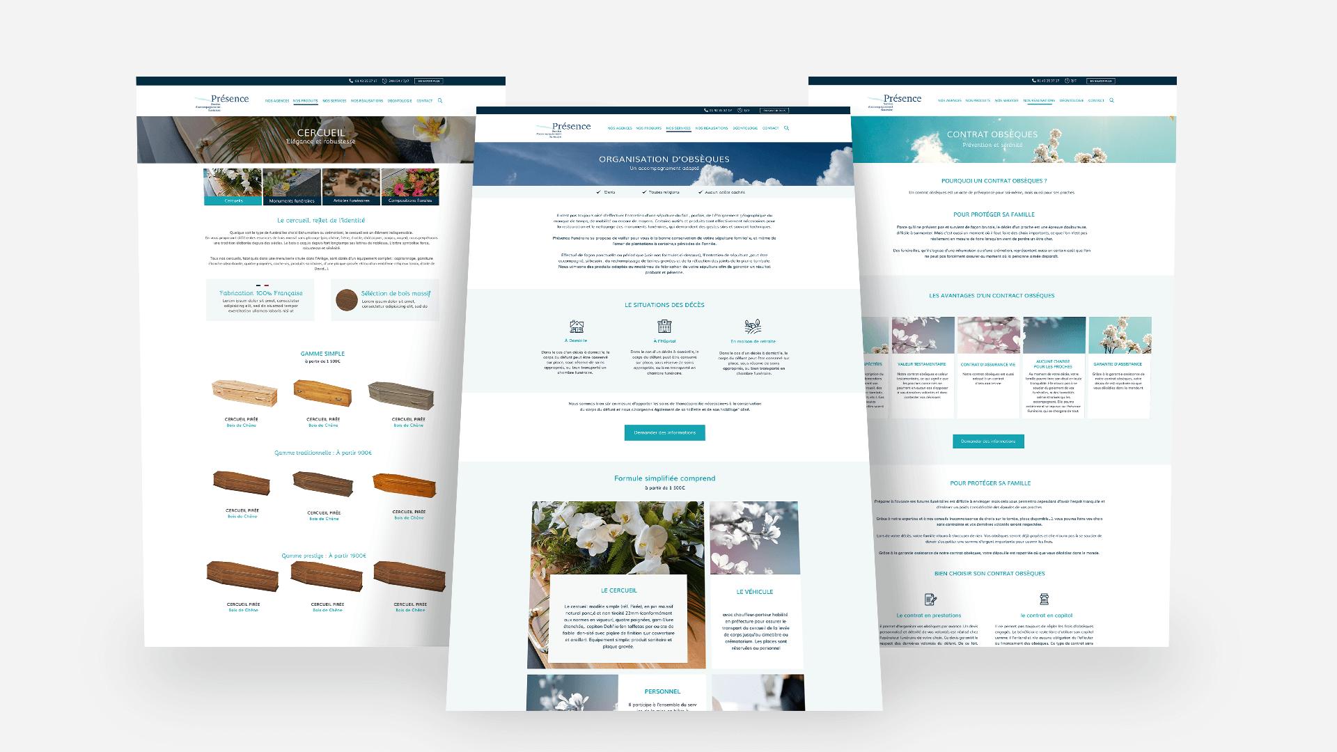 trois pages du site Présence Funéraire