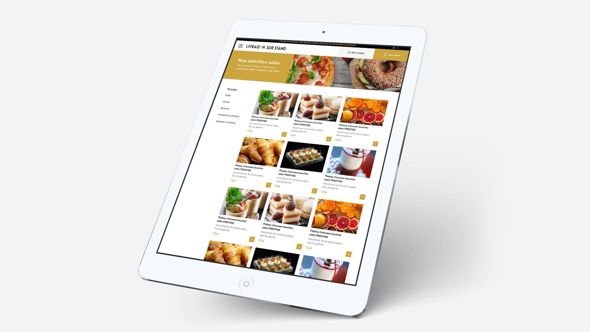 Page d'accueil Pavillon Gourmet sur tablette