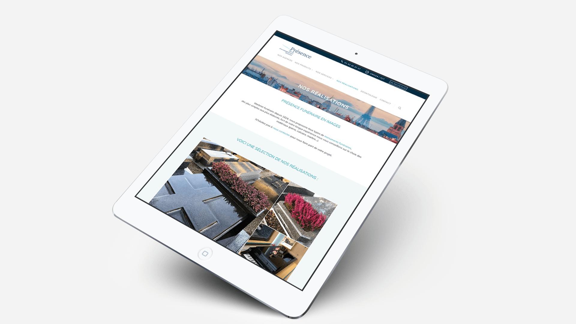 site Présence Funéraire sur tablette