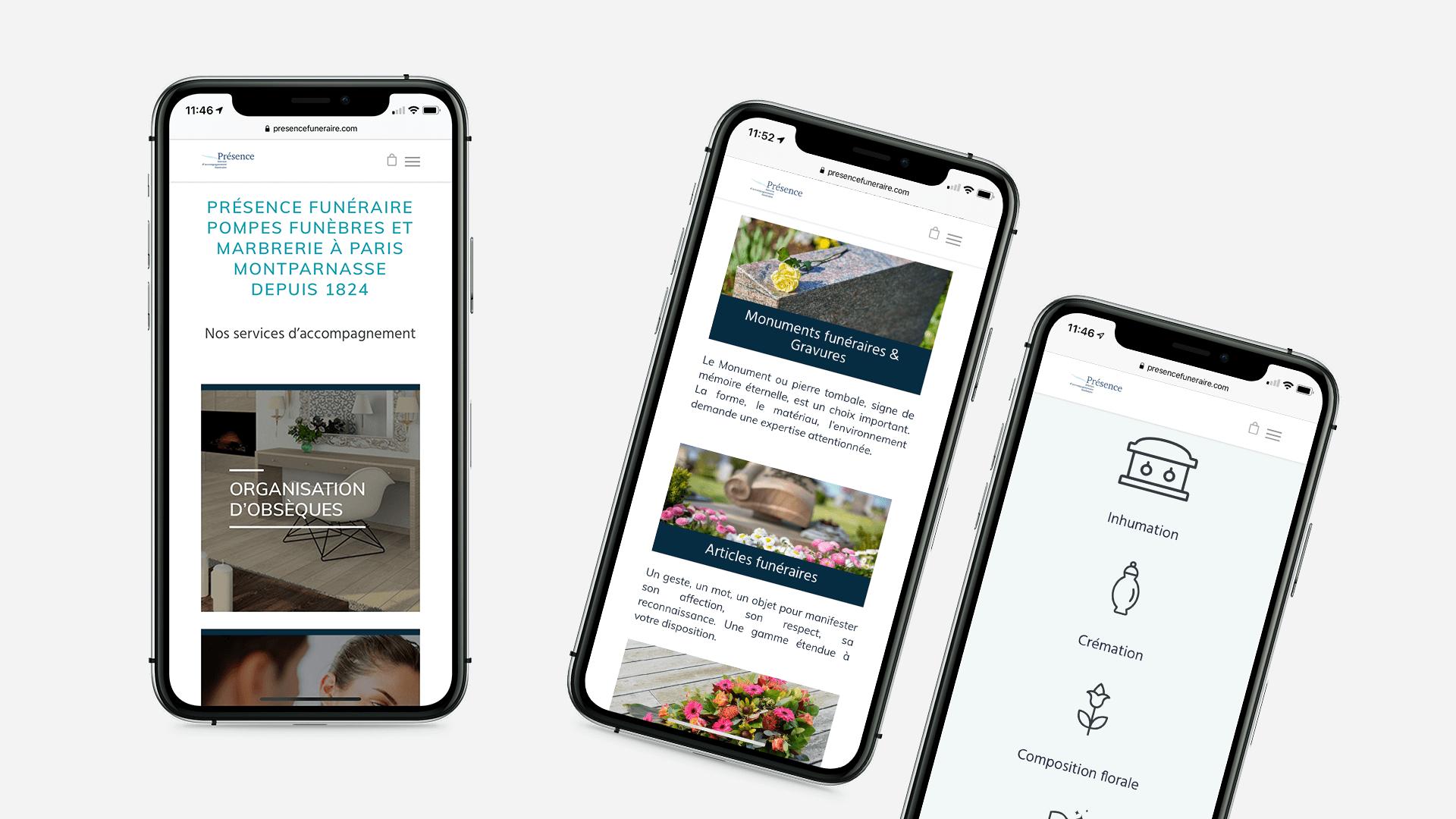 trois pages du site Présence Funéraire sur mobile