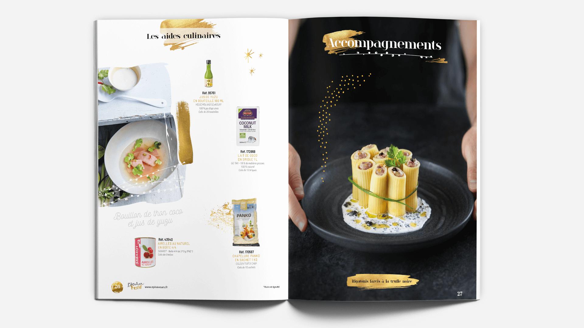 pages intérieurs du catalogue l'Atelier Festif d'EpiSaveurs