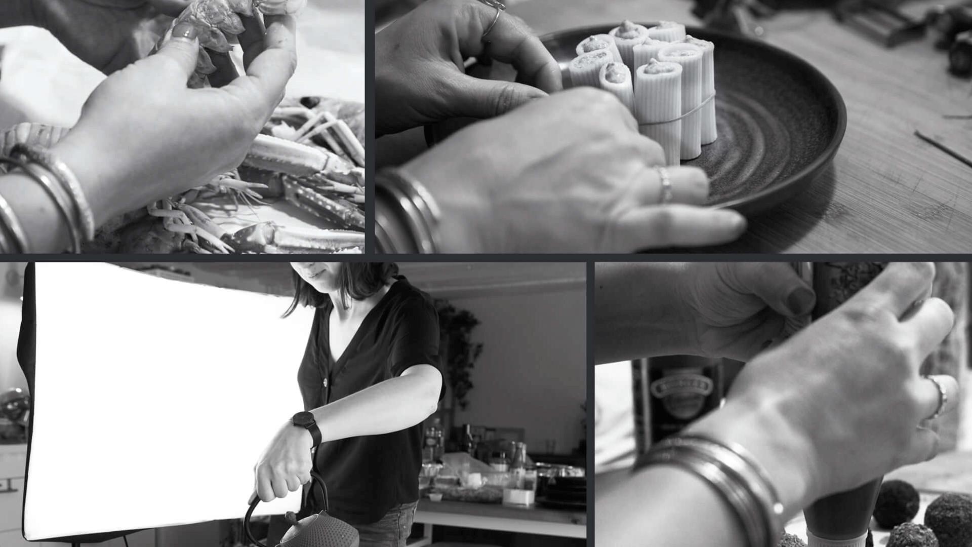 plat en préparation en noir et blanc ambiance du catalogue l'Atelier Festif d'EpiSaveurs