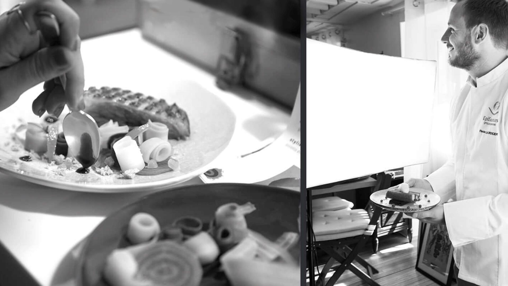 plat et chef avec plat en noir et blanc ambiance du catalogue l'Atelier Festif d'EpiSaveurs