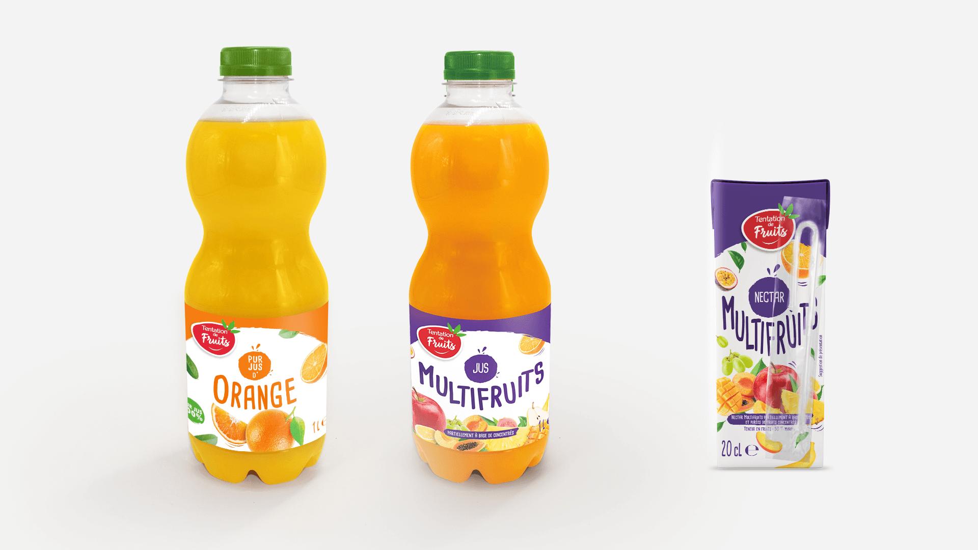 bouteilles et briquette Tentation de Fruits de Fructa