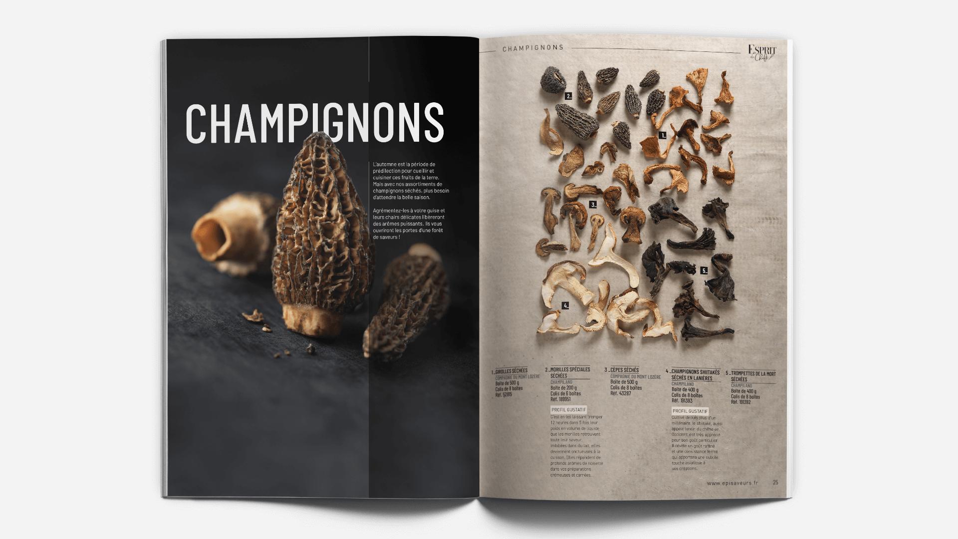 pages thème champignons du catalogue Esprit de Chefs d'EpiSaveurs