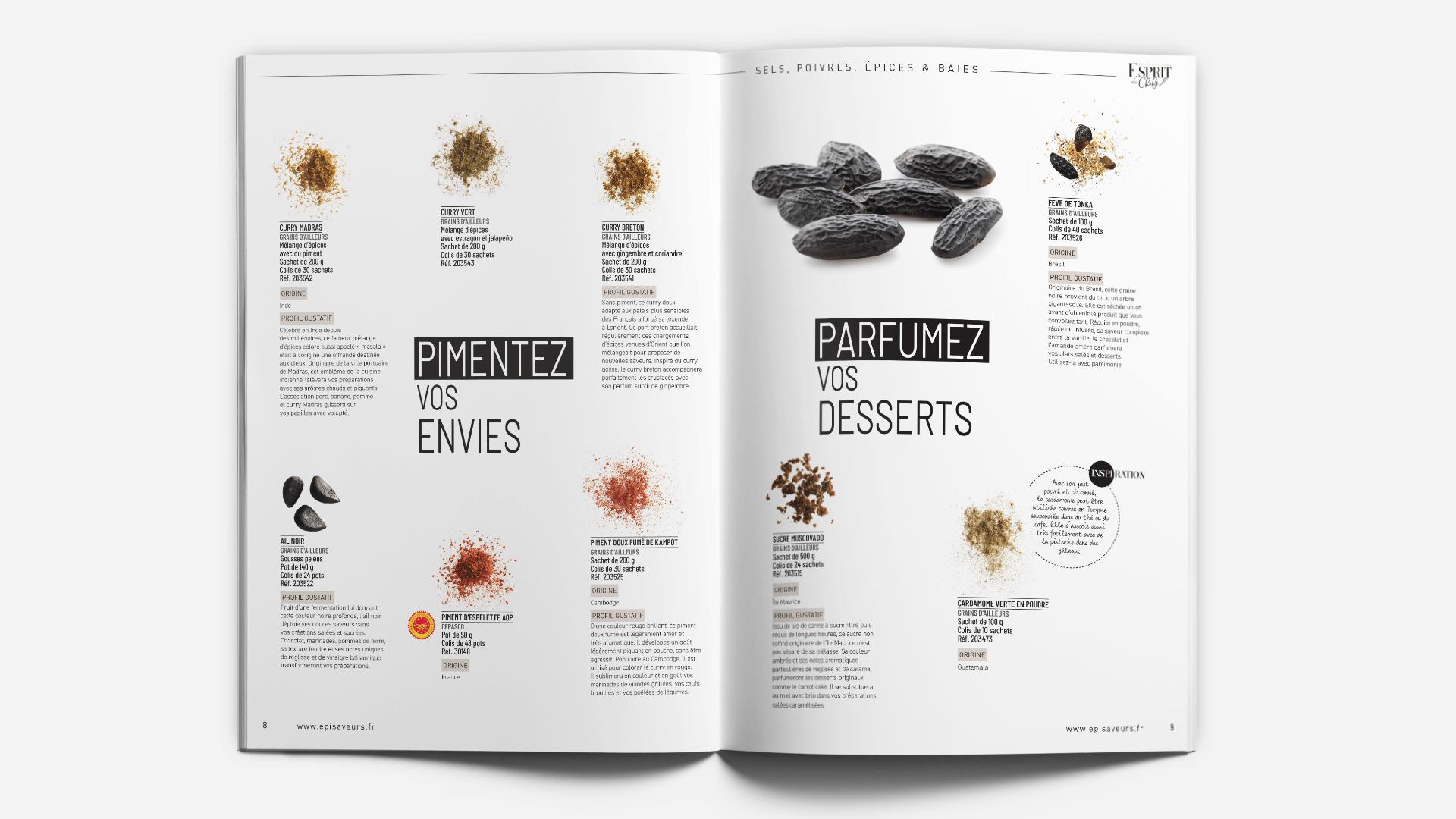 pages produits du catalogue Esprit de Chefs d'EpiSaveurs