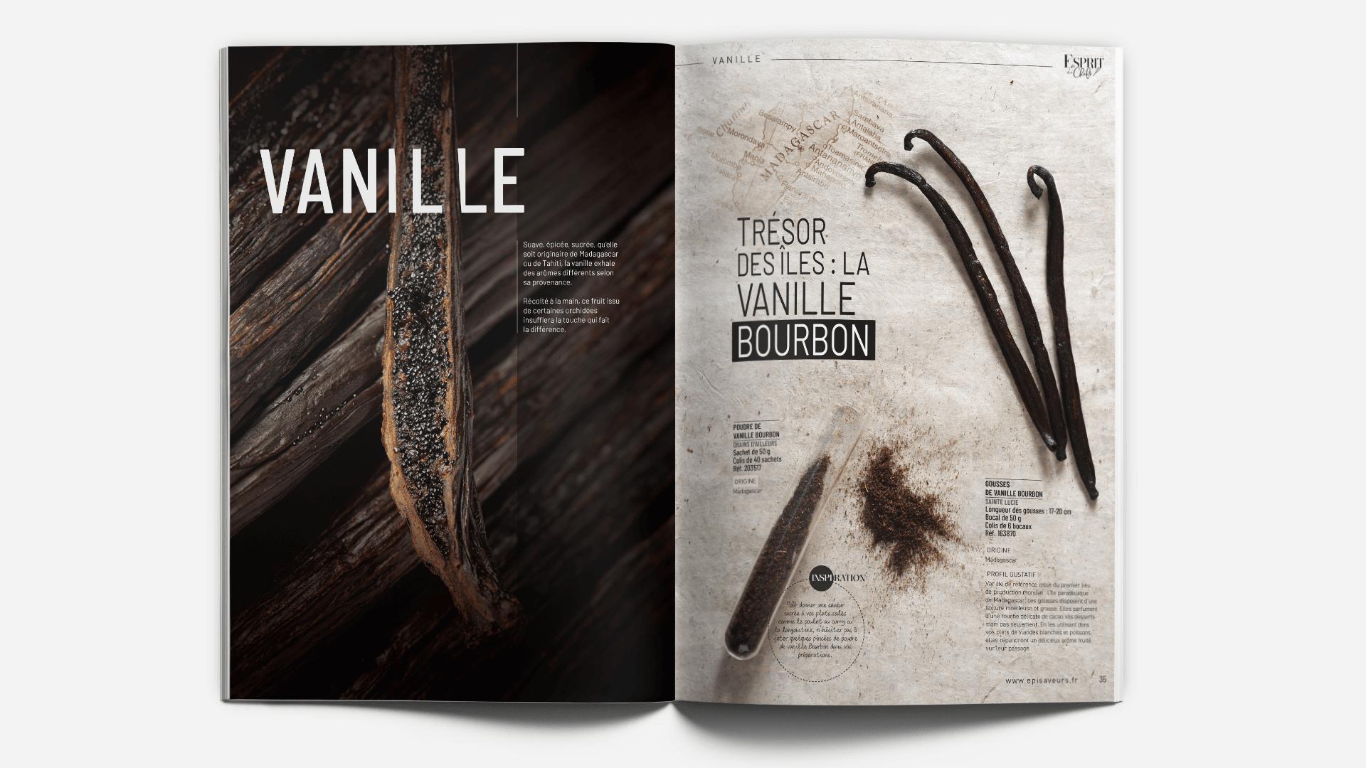pages thème vanille du catalogue Esprit de Chefs d'EpiSaveurs