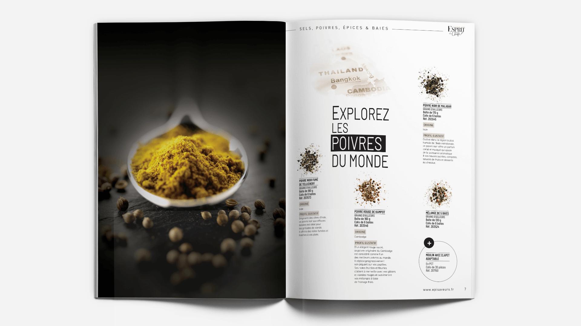 pages épices et poivres du catalogue Esprit de Chefs d'EpiSaveurs