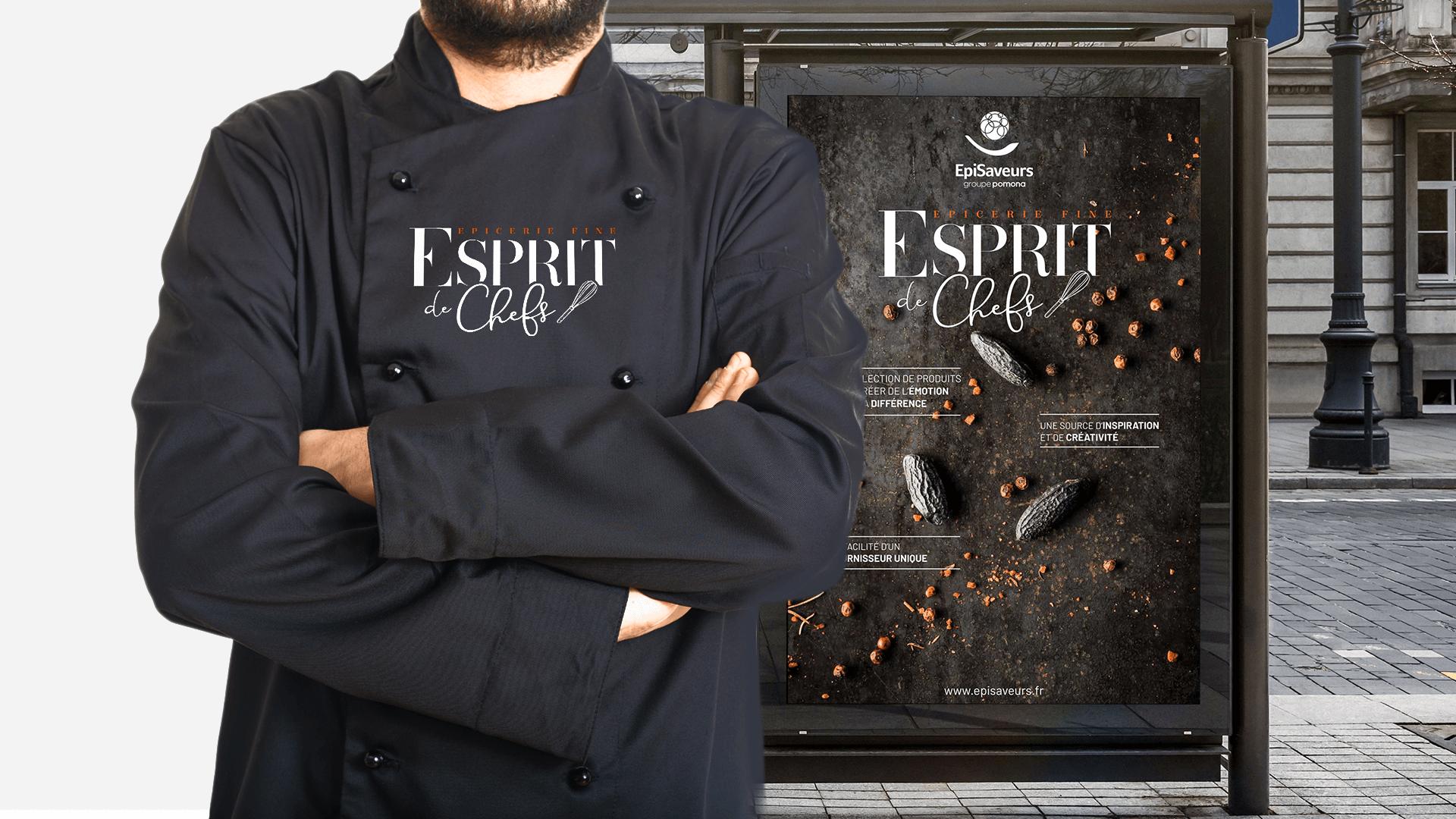 affiche sur abribus et tablier pour le catalogue Esprit de chefs d'EpiSaveurs