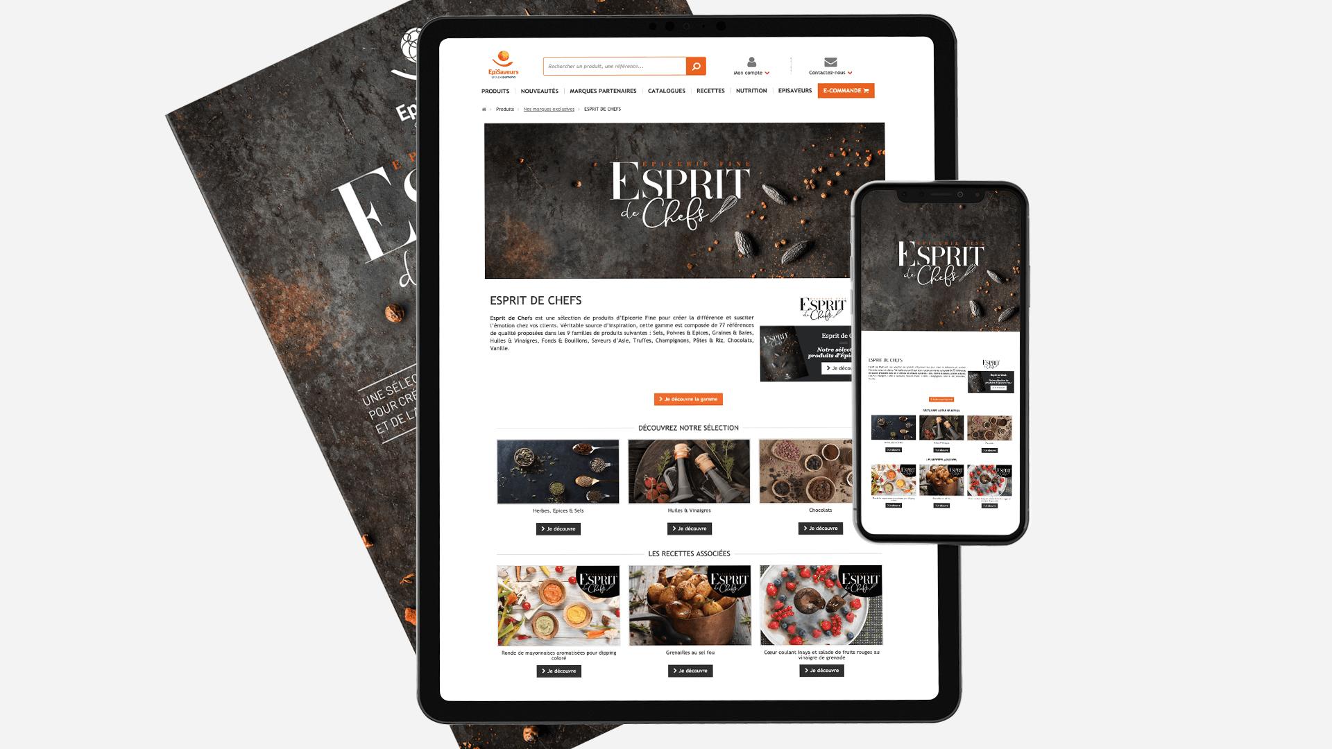 couverture, page d'accueil sur tablette et mobile pour le catalogue Esprit de chefs d'EpiSaveurs
