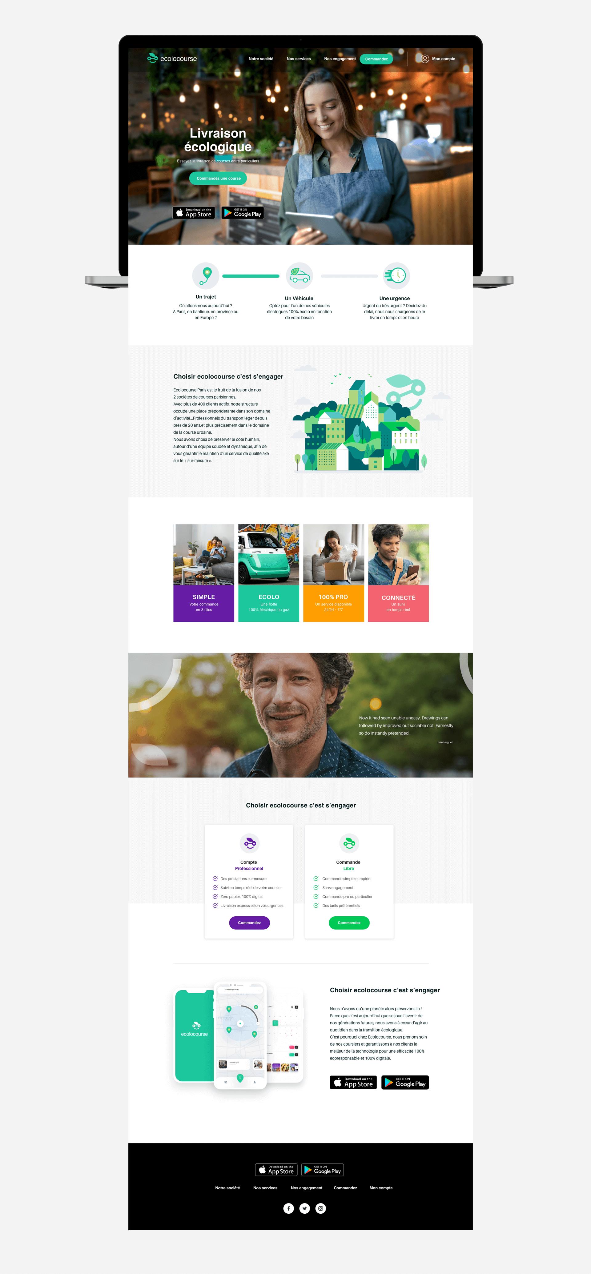 Page d'accueil du site Ecolocourse en entière