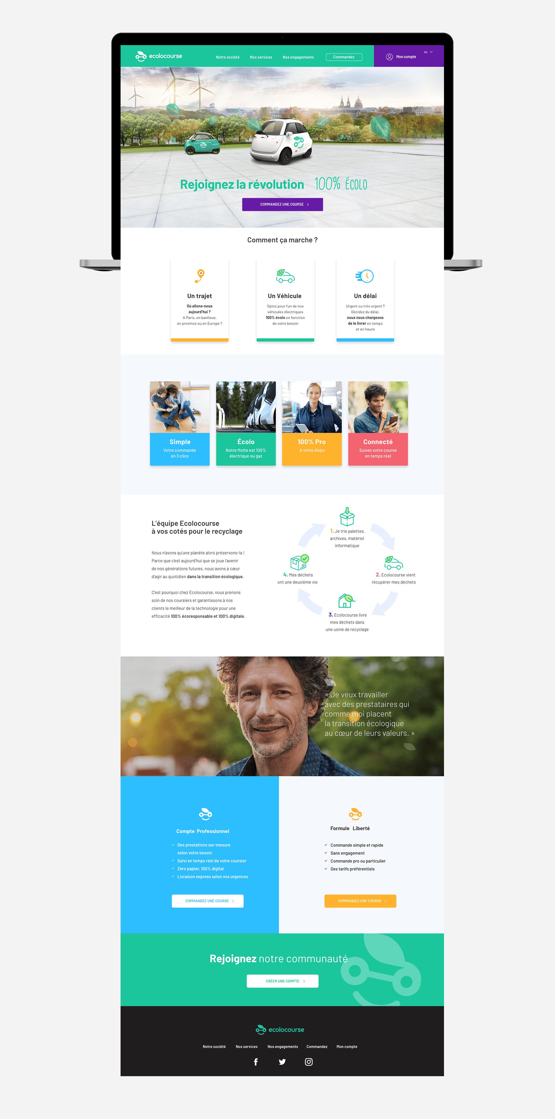 page d'accueil entière du site Ecolocourse