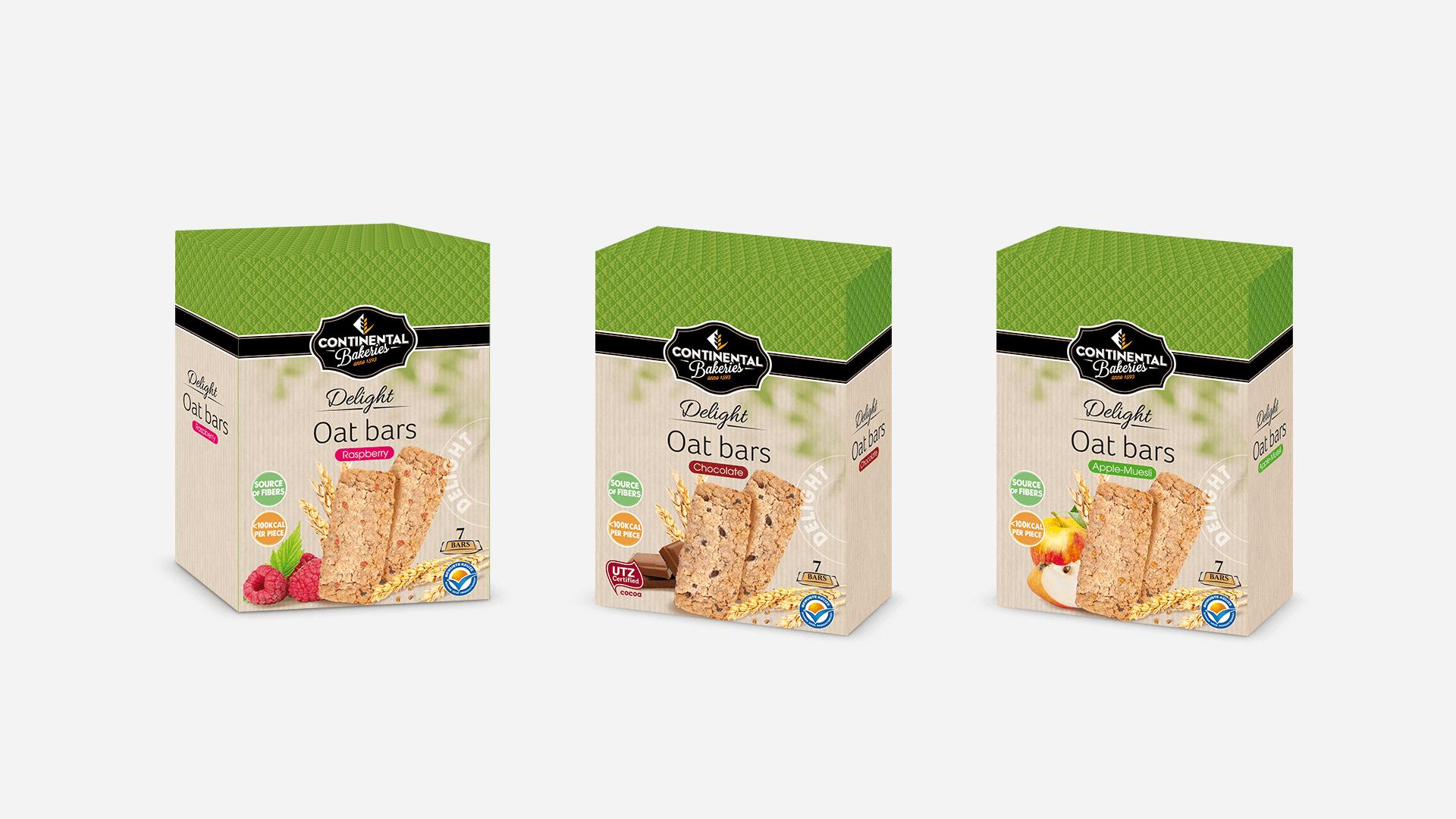 trois packs de la gamme Delight Continental Bakeries