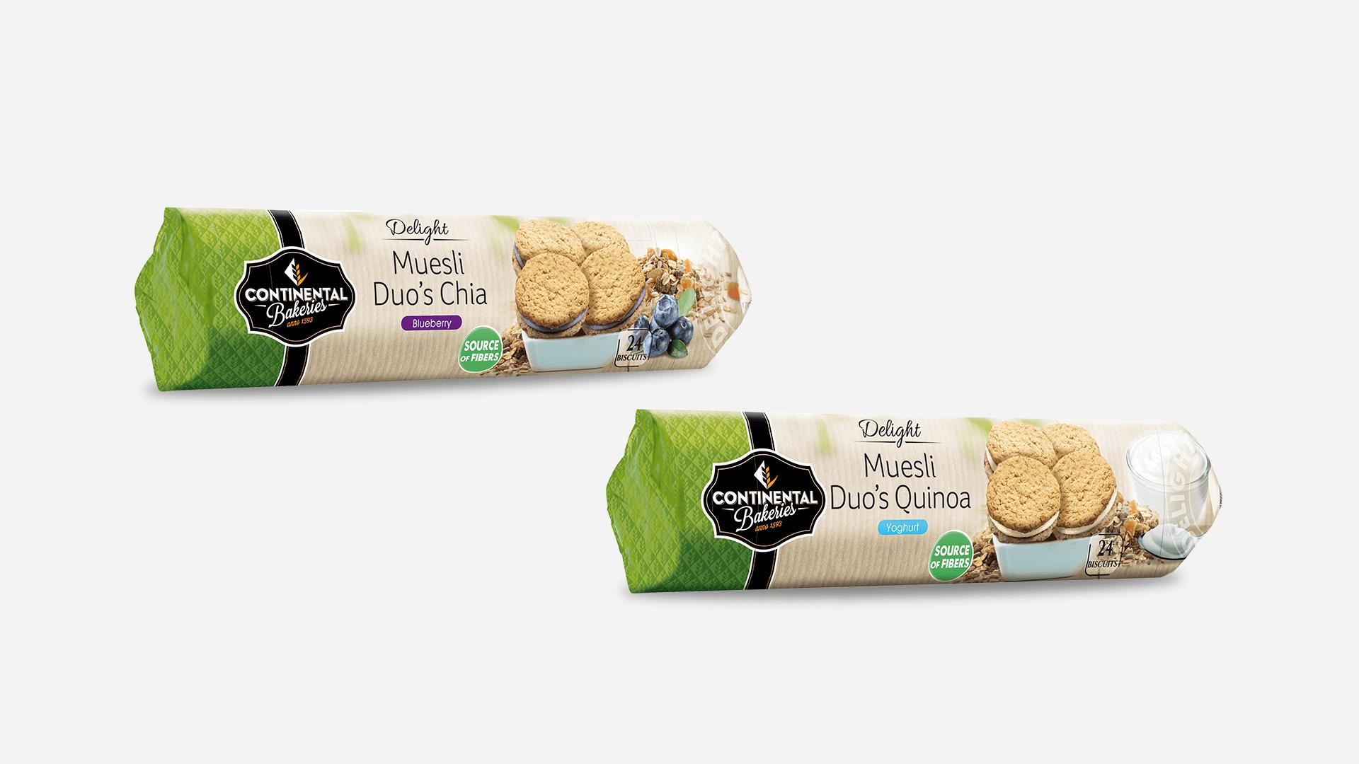 deux packs Muesli de la gamme Delight Continental Bakeries