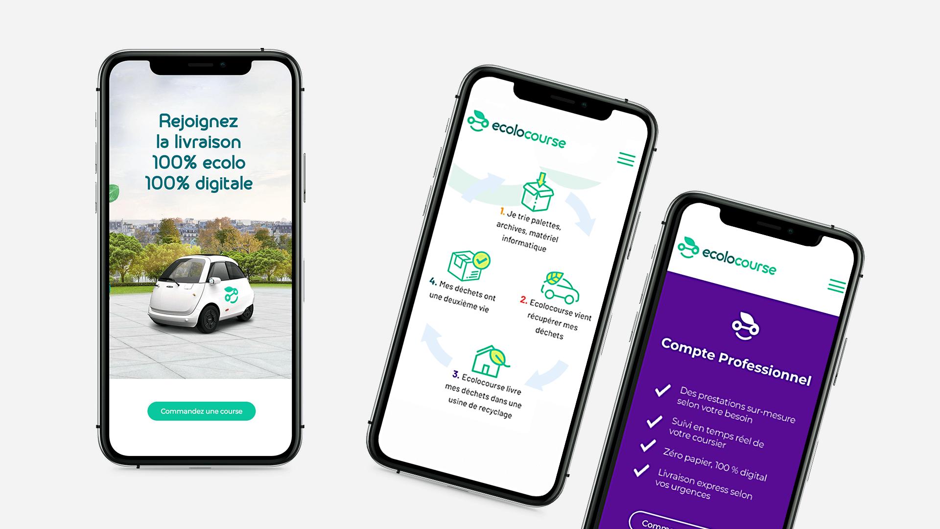 pages sur mobile du site Ecolocourse